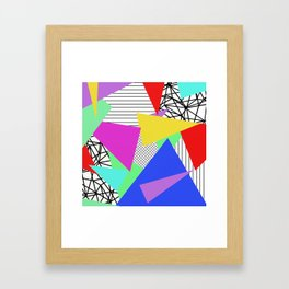 Bits And Pieces - Retro, random, abstract pattern Framed Art Print