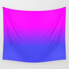 Neon Blue and Hot Pink Ombré Shade Color Fade Wall Tapestry