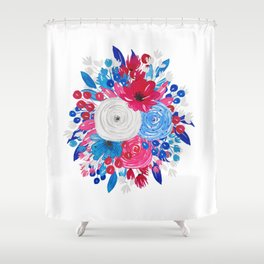 Red White and Blue Floral Motif Shower Curtain