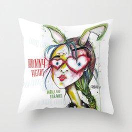 Bunny Heart - Vodka and Karaoke le soir de la Saint Valentin -  Throw Pillow