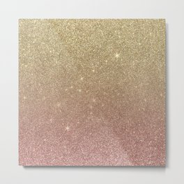 Rose Gold and Yellow Gold Glitter Mesh Metal Print