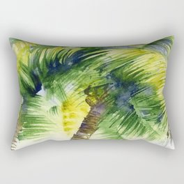 Watercolor painting with tropical palm trees, painted in India   Rectangular Pillow
