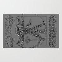 xenomorph Area & Throw Rugs featuring Vitruvian Alien by leea1968