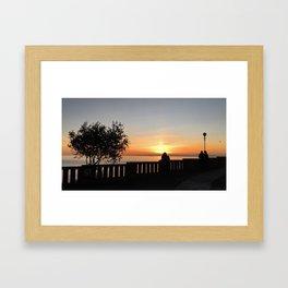 Romantic sunset in Bogliasco, Genoa Framed Art Print