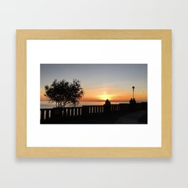 Romantic sunset in Bogliasco, Genoa Framed Art Print