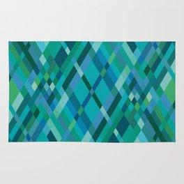 Blue Green Harlequin Pattern Rug