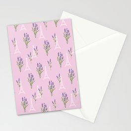 Elegant lavender lilac white Paris Eiffel Tower floral Stationery Cards