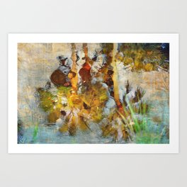 Palm Trees in Pond Art Print