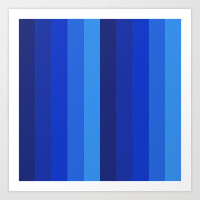 Gradient Shades Of Blue Vertical Stripes Kunstdrucke