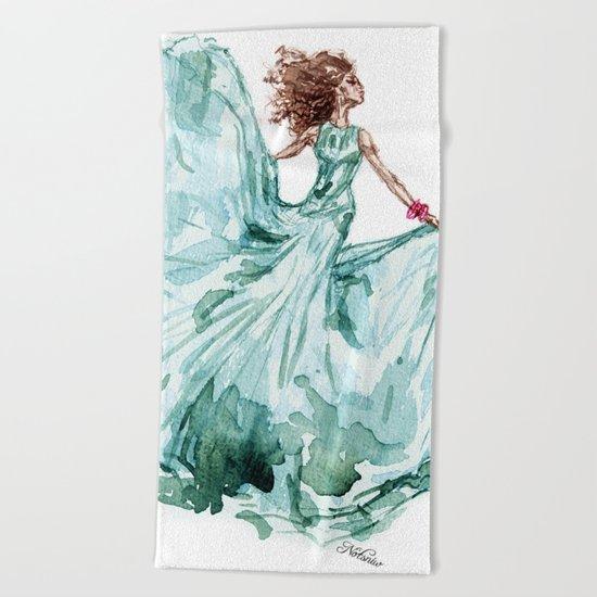 Fashion Blue Turquoise Teal Dress Girl Beach Towel