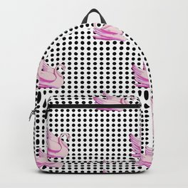 paradisebirds black dots and pink swans 2, home decor Graphicdesign Backpack