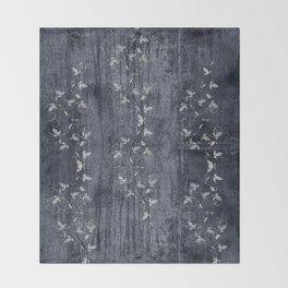 Flower Vines and Concrete Grunge Throw Blanket