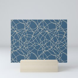 Beige Scribbled Lines Abstract Hand Drawn Mosaic on Blue - 2020 Color Of The Year Chinese Porcelain Mini Art Print