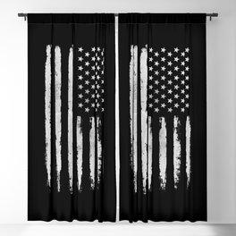 White grunge American flag Blackout Curtain