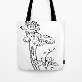 Chinese Ink Brush Painting Floral Chinoiserie Art Tote Bag