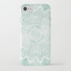 BOHEMIAN FLOWER MANDALA IN TEAL iPhone 7 Slim Case