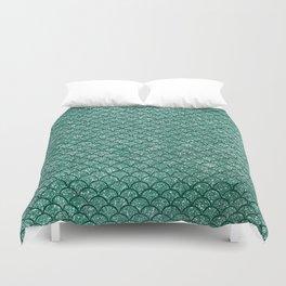 Aquamarine Sparkly Mermaid Scales Duvet Cover