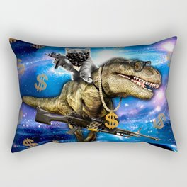 Cat Kitty Travel through Galaxy on Dinosaur T-rex with Guns and Golden chains Swag money dollars Rectangular Pillow