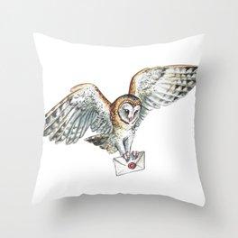 Mail Owl (Barn Owl)   Throw Pillow