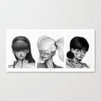 powerpuff girls Canvas Prints featuring Powerpuff Girls by Jeebus Wizzler