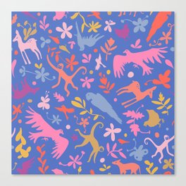 Frid Menagerie in Azul Canvas Print