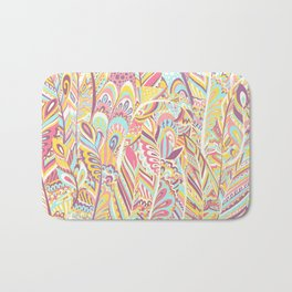 Abstract pink yellow teal hand painted bohemian feathers Bath Mat