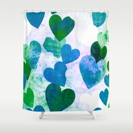 Fab Green & Blue Grungy Hearts Design Shower Curtain