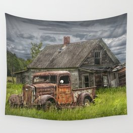 Old Vintage Pickup in front of an Abandoned Farm House Wall Tapestry