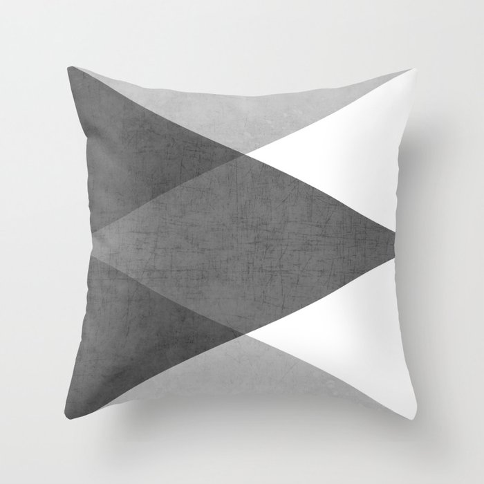 black and white triangles Throw Pillow by herart