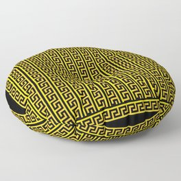 Greek Key Full - Gold and Black Floor Pillow