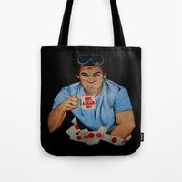 dexter Tote Bags featuring Dexter by Lydia Dick