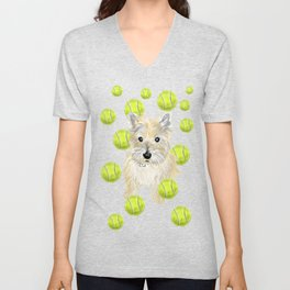 Miss Caroline the Cairn Terrier is Obsessed About Fetching Tennis Balls Unisex V-Neck