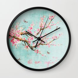 Its All Over Again - Romantic Spring Cherry Blossom Butterfly Illustration on Teal Watercolor Wall Clock