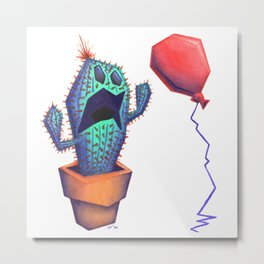 Scaredy Cactus Metal Print