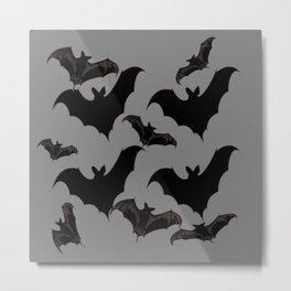 HALLOWEEN BATS ON CHARCOAL GREY WILDLIFE ART Metal Print