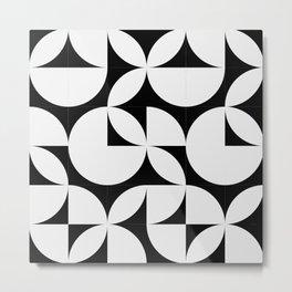 Abstract Black and white Circles Modern Mid Century Geometric Pattern Scandinavian Rustic Interior Metal Print