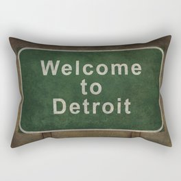 Welcome to Detroit highway road side sign Rectangular Pillow