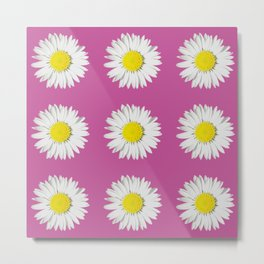 Retro Daisy · Hot Pink Metal Print