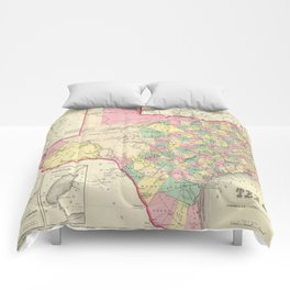 Vintage Map of Texas (1856) Comforters