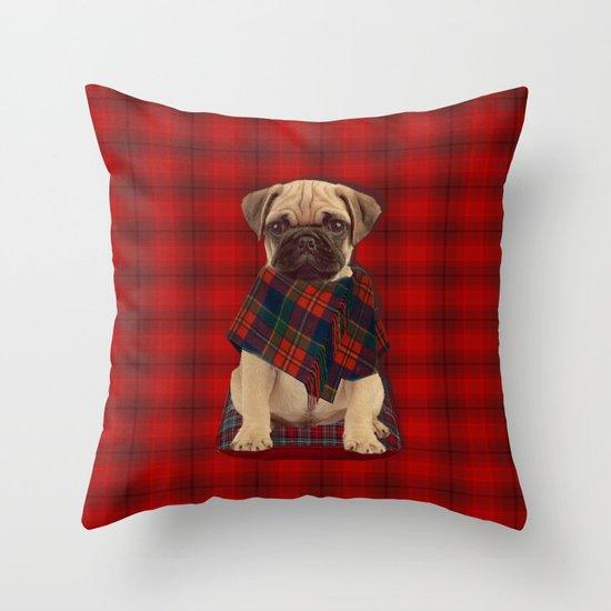 The Plaid Poncho'ed Pug Throw Pillow