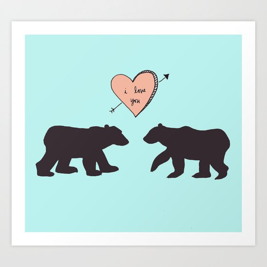 Polar Bear Love Art Print