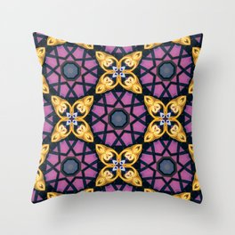 Circular futuristic abstract shapes of golden colors. Images from outside this world. Throw Pillow