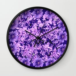 LILAC PURPLE SPRING PHLOX FLOWERS CARPET Wall Clock