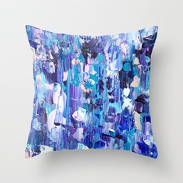 Modern blue acrylic abstract painting brushstrokes Throw Pillow