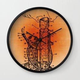 Bong Patent Blueprint Drawings Sepia Wall Clock