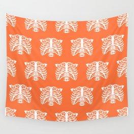 Human Rib Cage Pattern Orange Wall Tapestry
