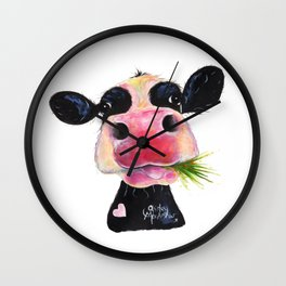 CoW PRiNT ANiMaL PRiNT ' HuRLeY BuRLeY ' BY SHiRLeY MacARTHuR Wall Clock