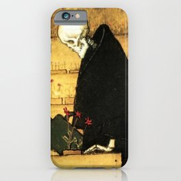 Garden of Life and Death flower and skeleton magical realism portrait painting by Hugo Simberg iPhone Case