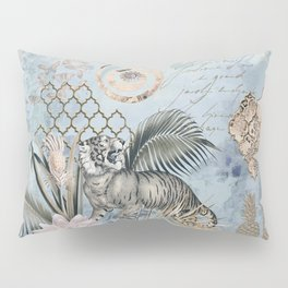 The Year Of The Tiger Pastel Blue Fantasy Mixed Media Art Pillow Sham