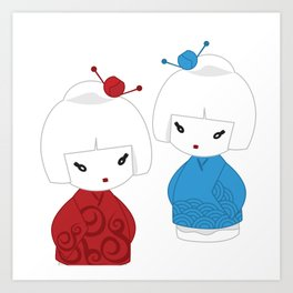 Japanese dolls Art Print